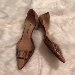 Manolo Blahnik EUC snake skin kitten heels